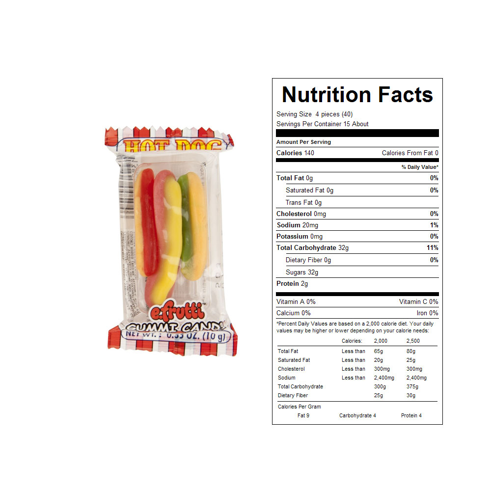 Gummy Hot Dogs Bulk Candy (60 ct)