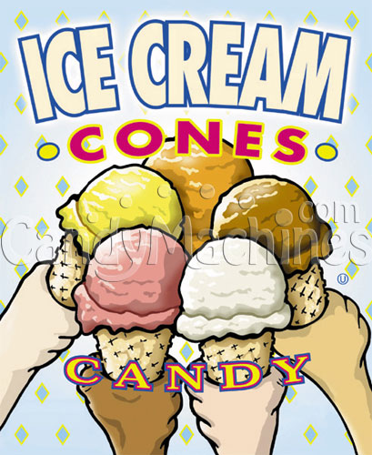 Ice Cream Cones Candy Vending Display Card
