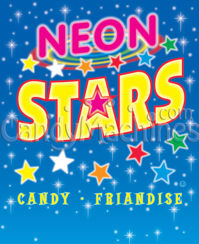 Neon Stars Candy Vending Display Card