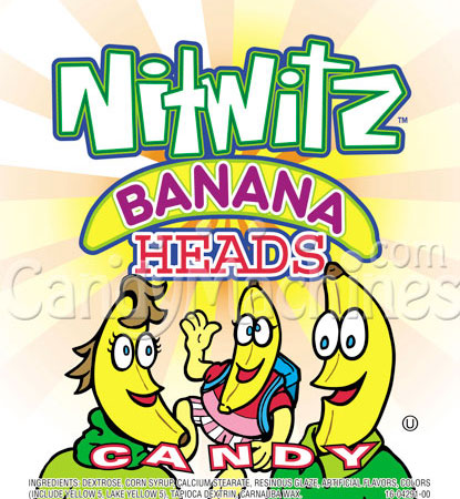 Nitwitz Banana Heads Candy Vending Display Card