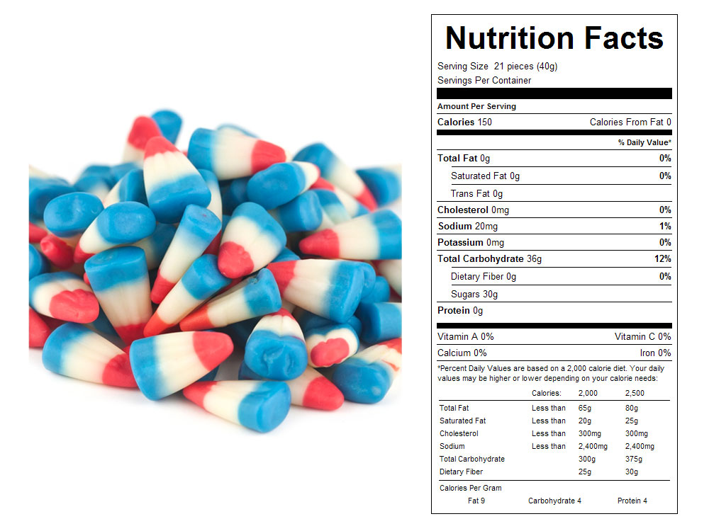 Patriotic Candy Corn Bulk Candy - Nutritional Facts