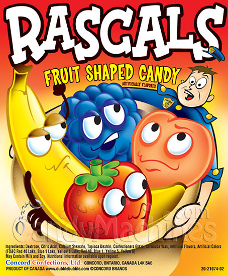 Rascals Fruit Shaped Candy Vending Display Card