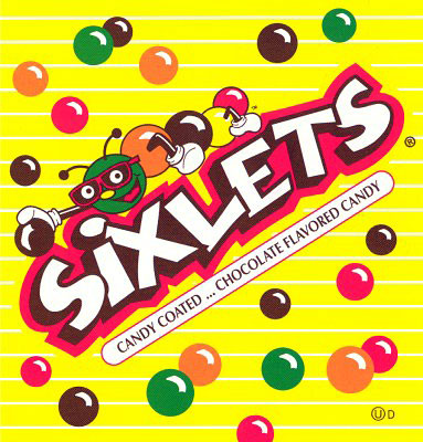 Sixlets Candy Coated chocolate Balls Vending Display Card