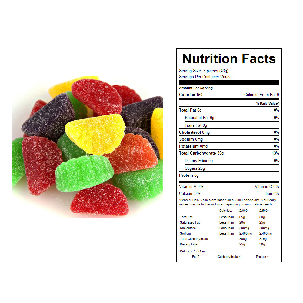 Sugar Coated Fruit Slices Bulk Candy - Nutrition Facts