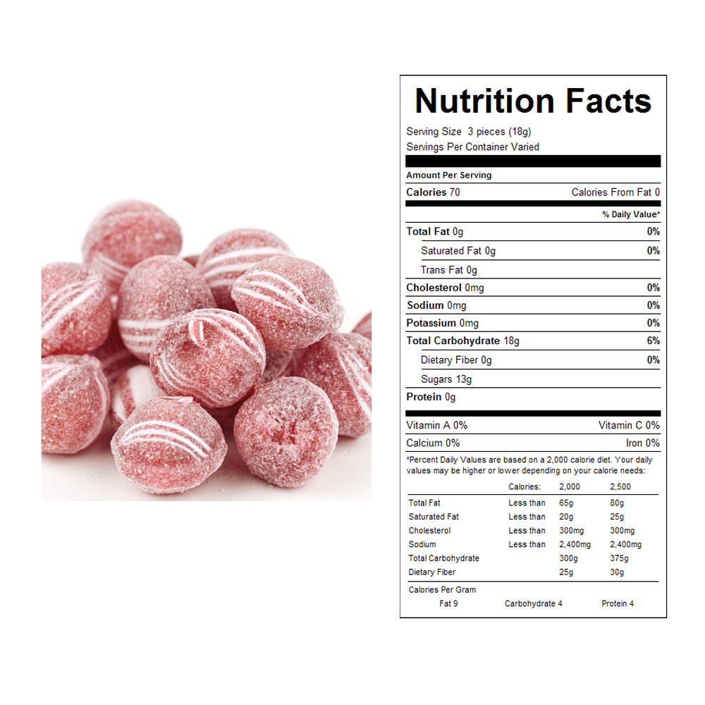 Sugar Dusted Cinnamon Balls Bulk Candy - Nutritional Facts