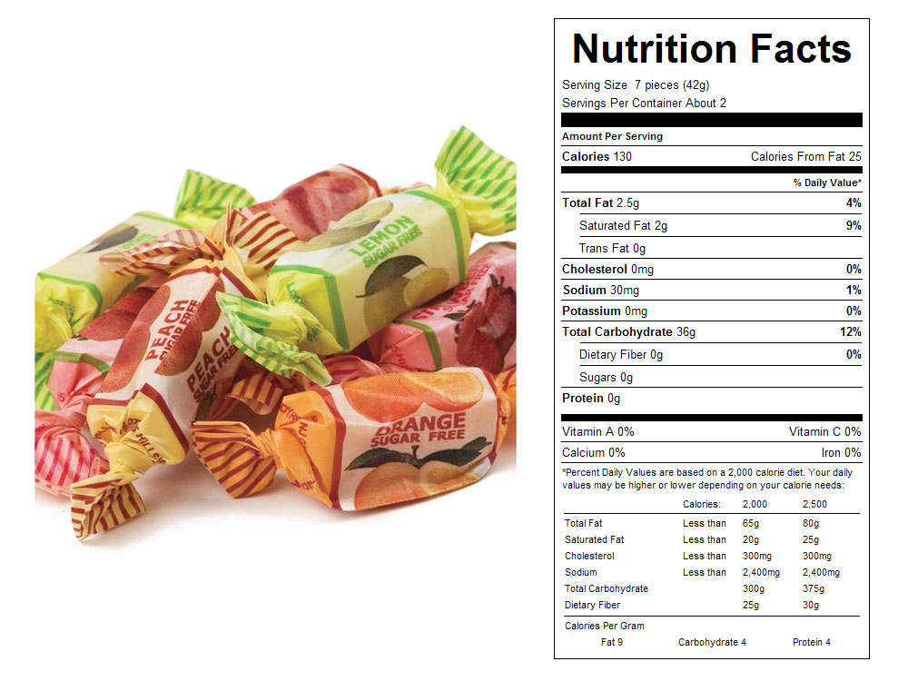 Assorted Sugar Free Fruit Chews Bulk Candy - Nutritional Facts