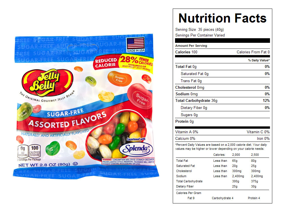 Jelly Belly Sugar Free Bulk Jelly Beans - Nutritional Facts