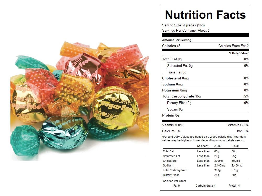 Sugar Free Tropical Fruit Bulk Hard Candy - Nutritional Facts