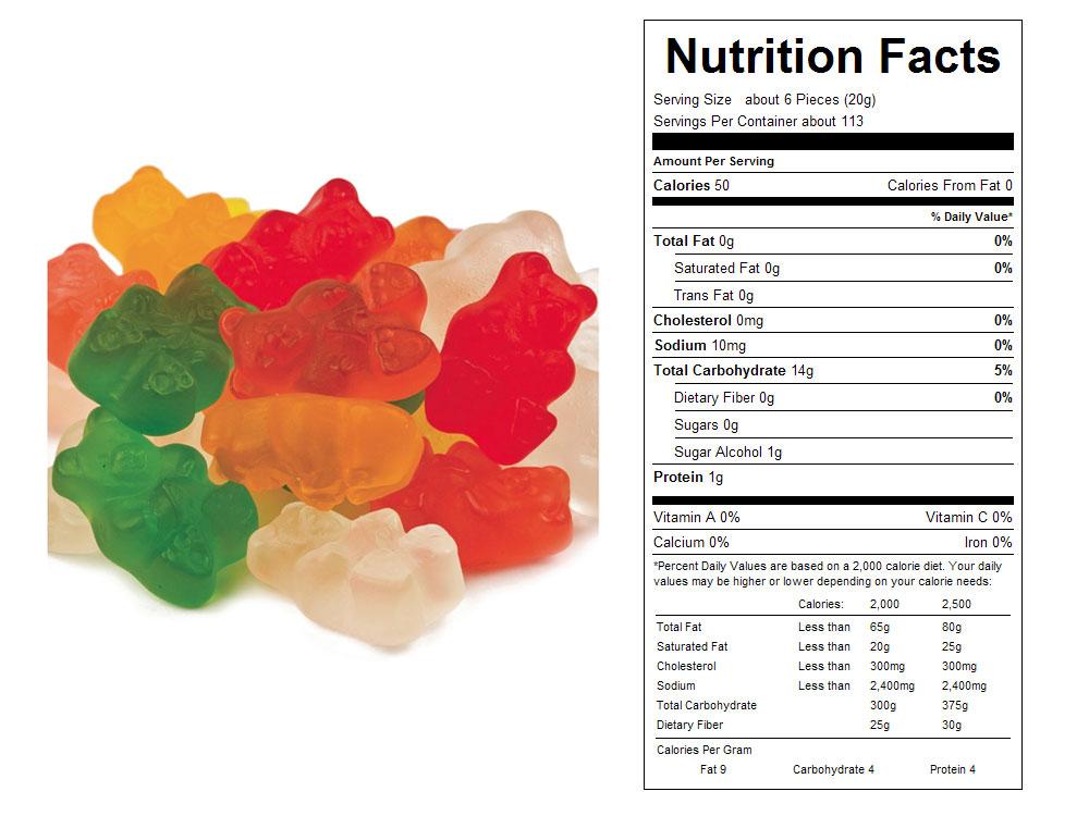 Sugar free gummy bears nutrition