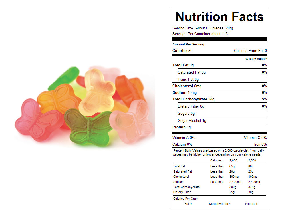 Sugar Free Mini Gummy Butterflies Bulk Candy (10 lbs)