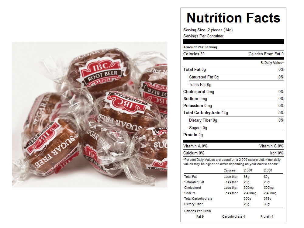 Sugar Free IBC Root Beer Barrels Bulk Candy - Nutritional Facts
