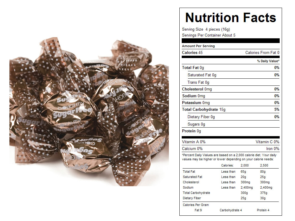 Sugar Free Root Beer Bulk Hard Candy - Nutritional Facts