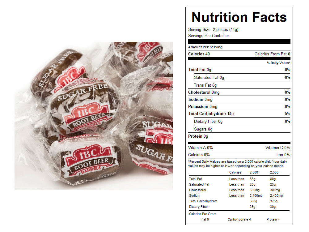 Sugar Free IBC Root Beer Float Bulk Candy - Nutritional Facts