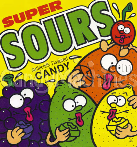 "1 1/4"" Super Sours Candy Vending Display Card"
