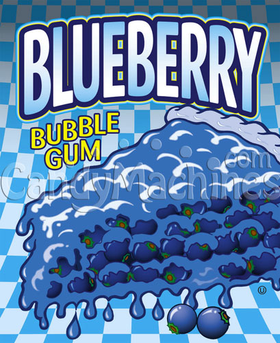 Blueberry Bubble Gum Gumballs Vending Display Card