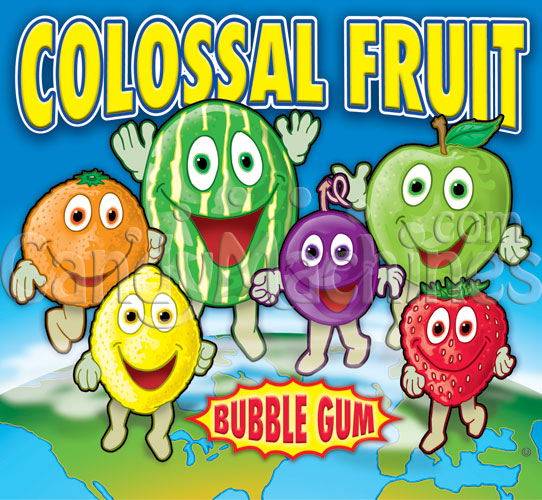 Colossal Fruit Gumballs Vending Display Card