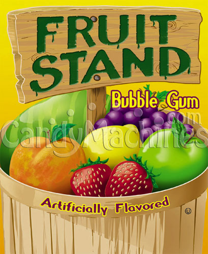 Fruit Stand Fruits Bubble Gum Vending Display Card