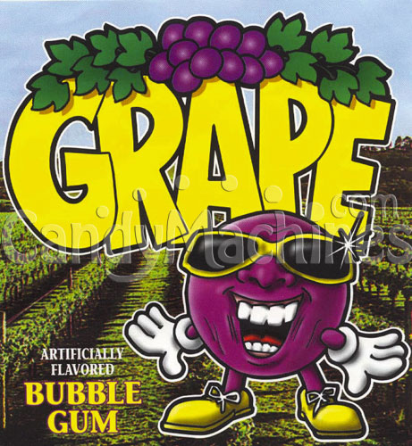 Grape Flavored Bubble Gum Vending Display Card