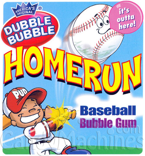 HomeRun Dubble Bubble Baseball Gumballs Vending Display Card
