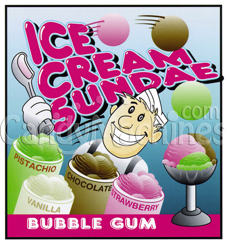Ice Cream Sundae Gumballs Vending Display Card