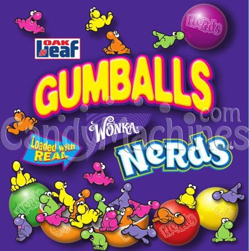 Nerds Candy Center Gumballs Vending Display Card