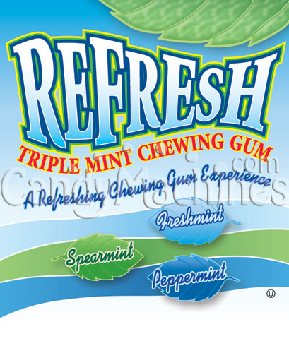 Refresh Triple Mint Chewing Gum Vending Display Card