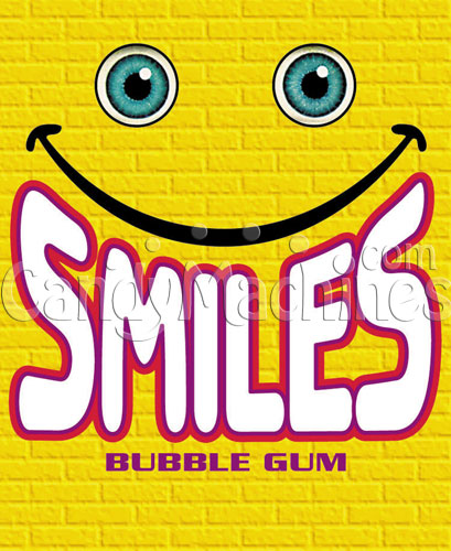 Smiles Assorted Color Gumballs Vending Display Card
