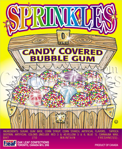 Sprinkles Candy Covered Bubble Gum Vending Display Card