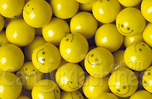 Yellow Gumballs with Smiley
