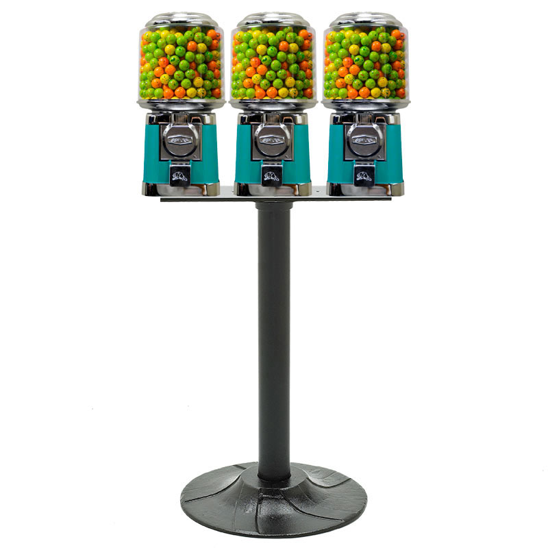 Round Beaver Triple Gumball Machine with Stand