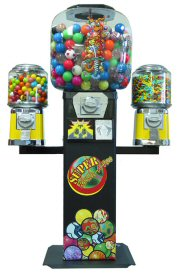 Super 2 Bouncy Ball Machine with 2 Barrel Candy Gumball Vending Machines Combo