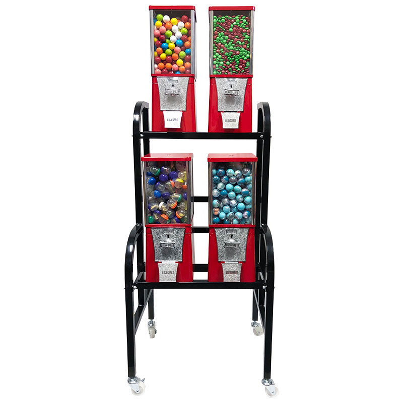 Eagle 4 Unit Gumball and Candy Bulk Vending Rack Front