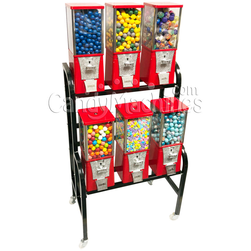 Eagle 6 Unit Gumball and Candy Bulk Vending Rack Left