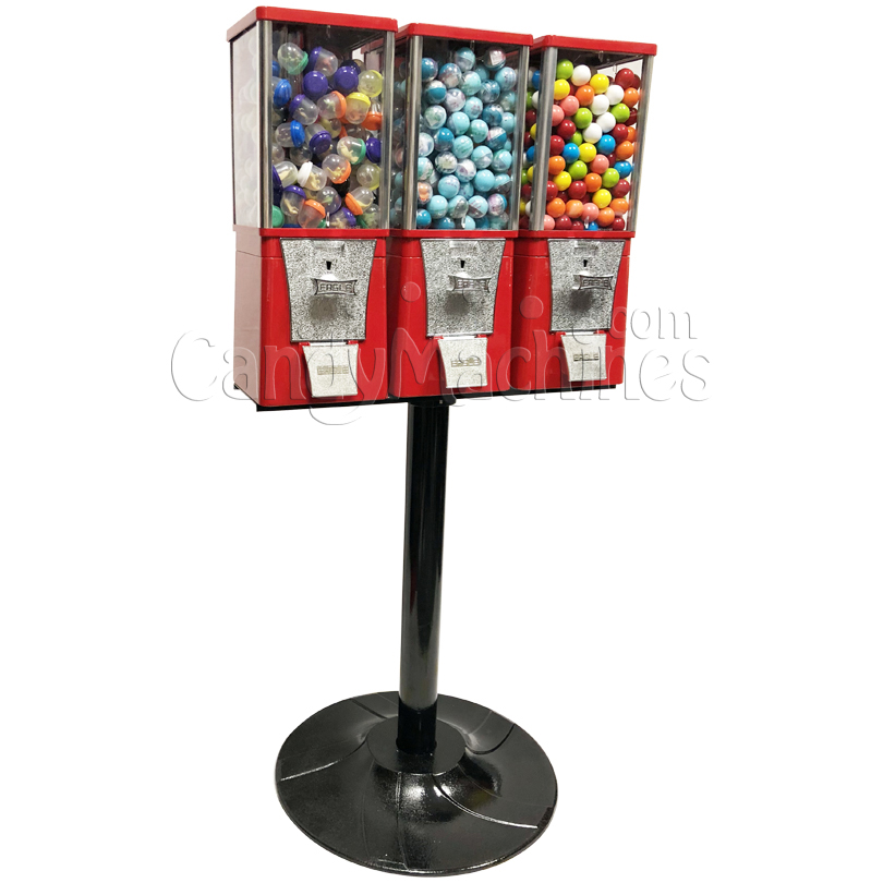 Eagle Three Head Candy Bulk Vending Machine with Stand Left Side