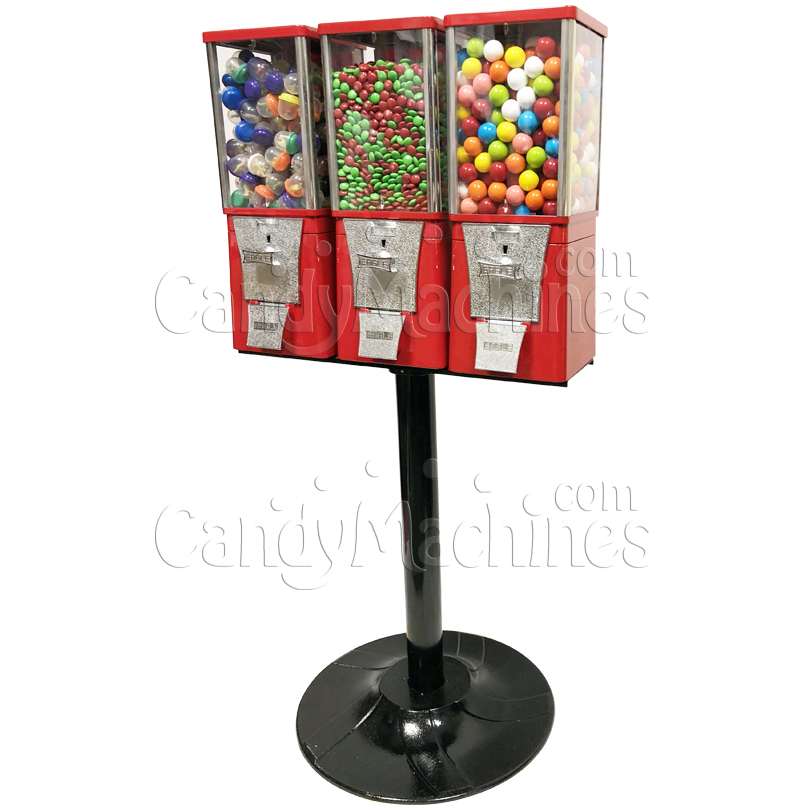 Eagle Three Head Gumball Bulk Vending Machine with Stand Left Side