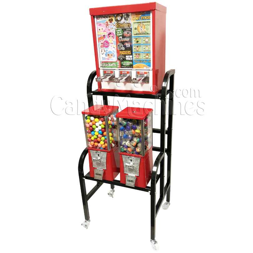 Eagle Three Head Gumball Bulk Vending Machine with Stand Right Side