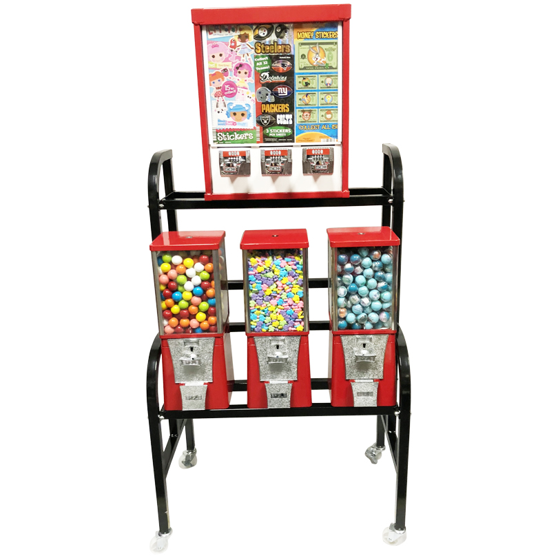 Eagle Sticker and Tattoo 4 Unit Bulk Vending Rack
