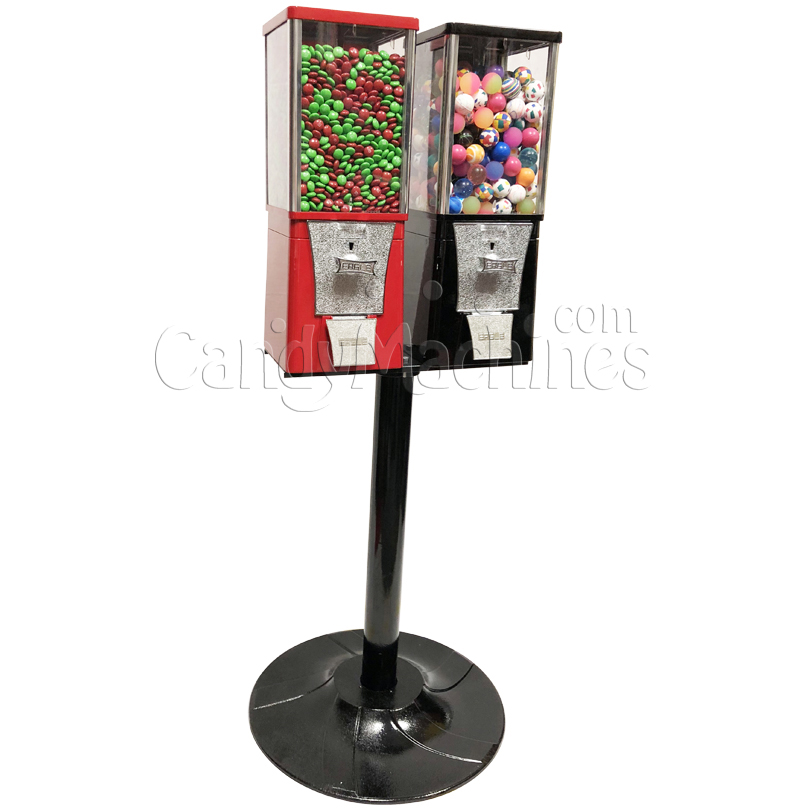 Eagle Two Head Candy Bulk Vending Machine with Stand Left Side