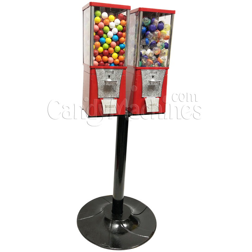 Eagle Two Head Gumball Bulk Vending Machine with Stand Left Side