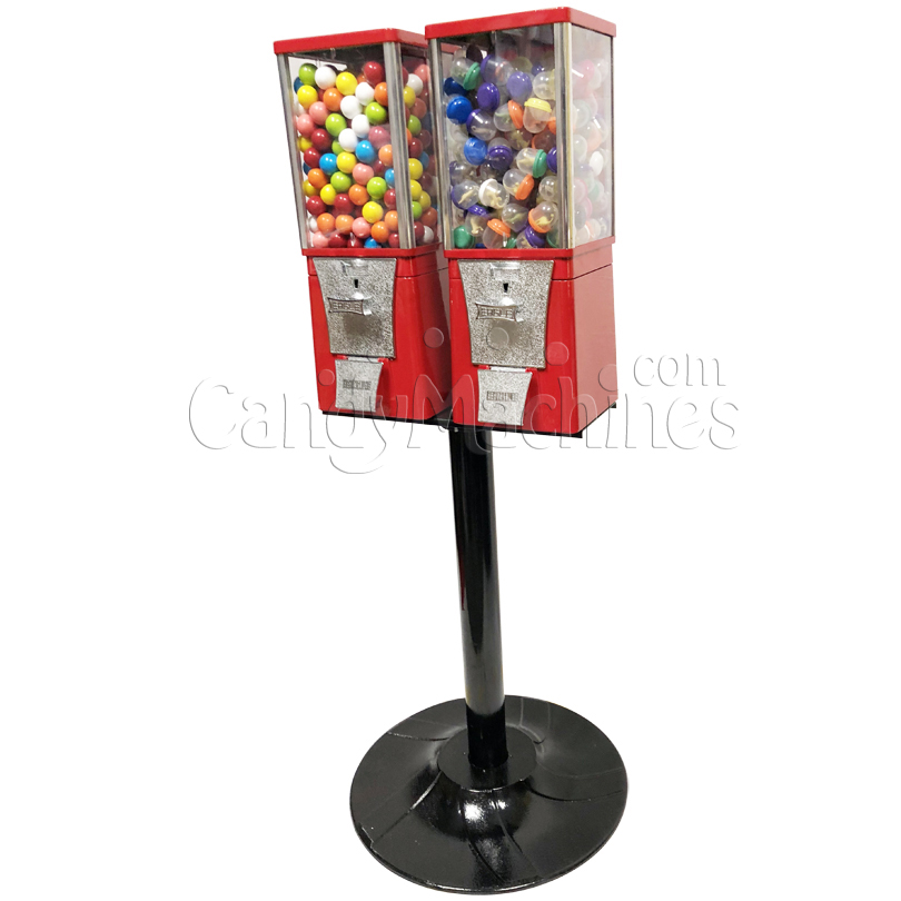 Eagle Two Head Gumball Bulk Vending Machine with Stand Right Side