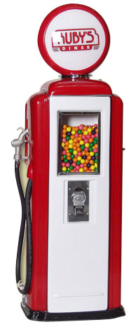 Tokheim 39 Red and White Ruby's Diner Gas Pump Gumball Machines