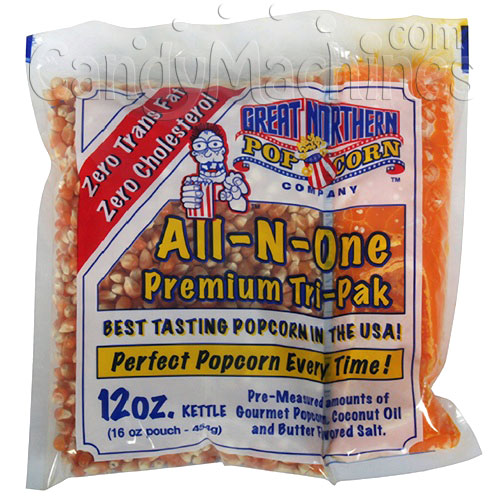 All-N-One Premium 12 Oz. Tri-pak Portion Great Northern Popcorn