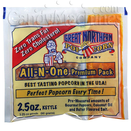 All-N-One Premium 2.5 Oz. Tri-pak Portion Great Northern Popcorn