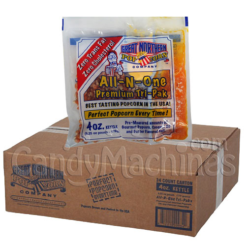 4 Oz. All-N-One Premium Tri-Pak Portion Great Northern Popcorn - 24 Pack