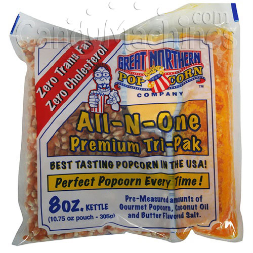 All-N-One Premium 8 Oz. Tri-pak Portion Great Northern Popcorn