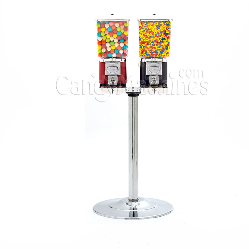 Rhino Pro Metal Three Head Bulk Vending Machines with Chrome Stand
