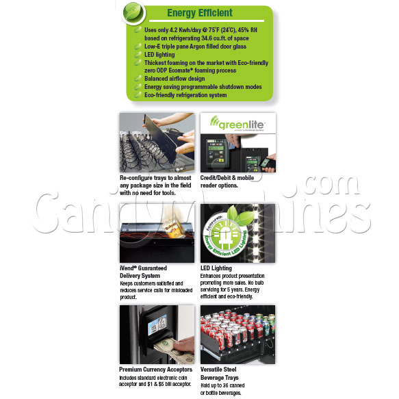 Refrigerated  Snack and Soda Vending Machine (45 Selections) Options