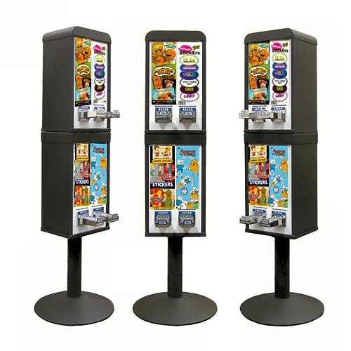 Sticker and Tattoo Vending Machines - 4 Stacked - Black