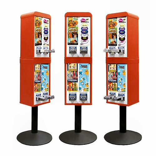 Sticker and Tattoo Vending Machines - 4 Stacked - Red