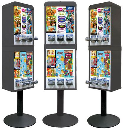 Sticker and Tattoo Vending Machines - 6 Stacked - Black
